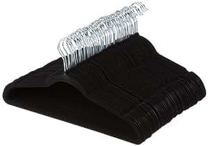 AmazonBasics Suit Hangers, Velvet - Black, Set of 50