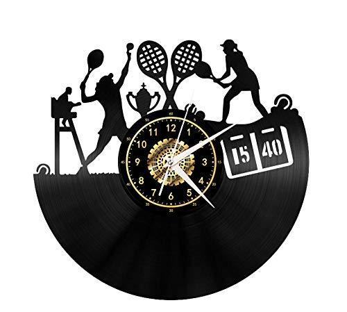 ZBBSHOP Wanduhr Ball Sport Spielen Badminton Schallplatte Wanduhr LP Retro Led Beleuchtung Vinyl Wanduhr Wohnzimmer Dekor Geschenke Ohne Led-leuchten 12 Zoll