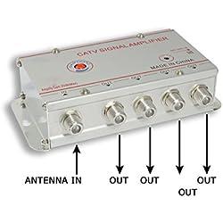 Amplificateur de Signal Antenne Doubleur 4 Prises de Sortie pour Télévision Numérique Terrestre