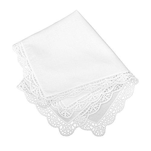 Weiße Damen Taschentücher Baumwolle (Milesky Damen Taschentuch mit Häkelspitze Weiß 100% Baumwolle Größe 30x30cm CH05)