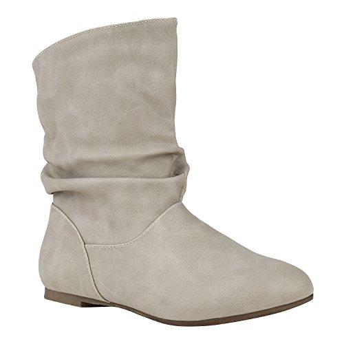 Damen Schuhe Schlupfstiefel Leder-Optik Stiefeletten Bequeme 150476 Creme Autol 36 Flandell
