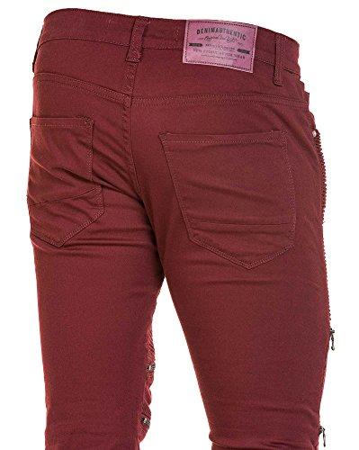 BLZ jeans - Jean bordeaux homme nervuré et zipps Rouge