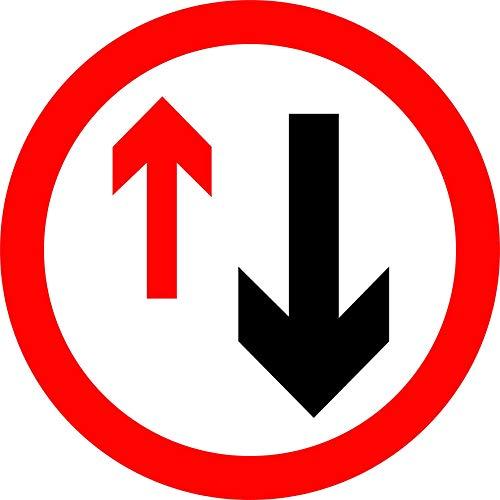 INDIGOS UG - Aufkleber - Sicherheit - Warnung - Give priority to vehicles from opposite direction Road safety sign sign fitted 30x30cm - Sticker für Büro, Firma, Schule, Hotel, Werkschutz