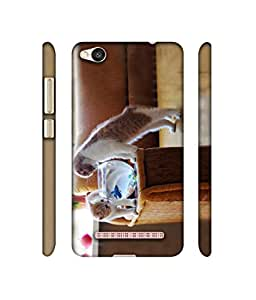 Rabotac Kittens Couple With Aquarium Design 3D Printed Hard Back Case Cover for Xiaomi Redmi 4A