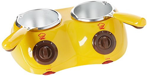 Silicone Bakeware Double Chocolatiere Electric Chocolate Melting Pot, Stainless Steel, Yellow/Silver