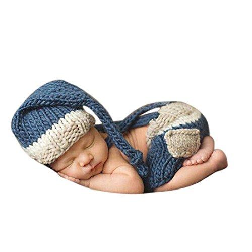 DAYAN Neugeborenes Baby Boy Crochet Wollmütze Kostüm Fotografie Prop Outfit Set (Outfits Baby Crochet Boy)