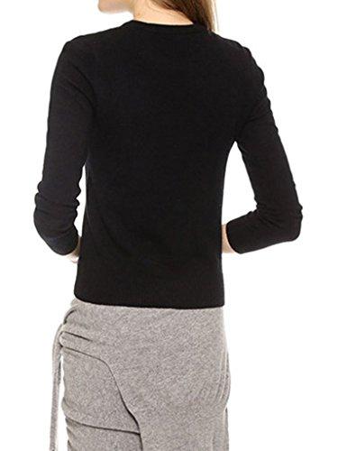 Smile YKK Veste Automne Hiver Femme Sweat-shirt Col Rond Manche Longue Cil Imprimé Casual Noir