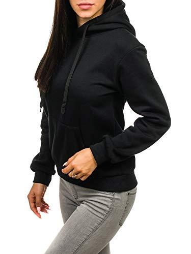 BOLF Mujer Sudadera Básica con Capucha Cerrada Sudadera de Algodón Estilo Casual J.Style W02 Negro S [A1A]