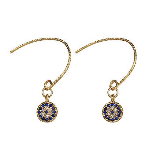 5947013985344 Moda C Forma Aretes Pendientes Evil Eye Swarovski Element Piedras Cristal  Brillantes Mujer, Dorado