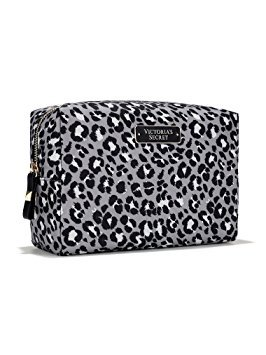Victoria's Secret Large Stud with Zipper Cosmetic Bag - Grey Leopard by Victoria's Secret