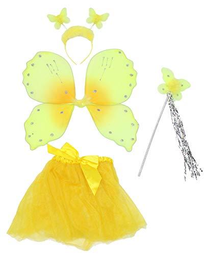 Schmetterling Flügel Kostüm Gelber - Foxxeo 35300 | gelbes Schmetterling Kostüm Set für Mädchen | mit Flügel, Tutu, Haarreif und Zepter | Kinder Schmetterlingkostüm Schmetterlingskostüm Flügel Tütü Zepter Fasching Tierkostüm