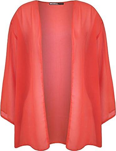 Plus Size Womens Plain 3/4 Sleeve Ladies Open Kimono Cardigan Top - Coral - 20-22