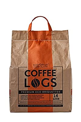 Coffee Logs - 16 WINTER FUEL LOGS MADE FROM RECYCLED COFFEE - FOR A HOTTER & LONGER BURN by bio-bean Ltd