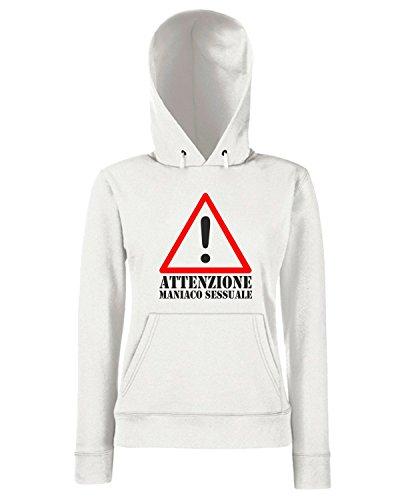 T-Shirtshock - Sweats a capuche Femme T0203 ATTENZIONE MANIACO SESSUALE fun cool geek Blanc