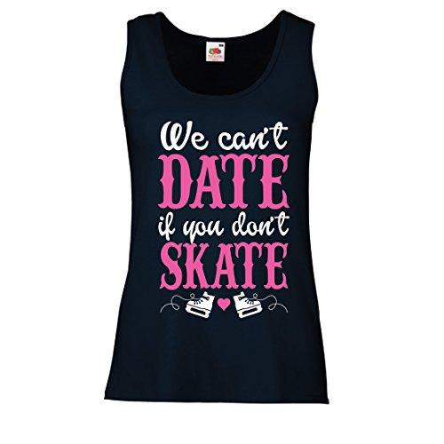 lepni.me Damen Tank-Top Kein Skate, Kein Datum - Coole Zitate Geschenk, Lustige Dating Zitate (Small Blau Mehrfarben)