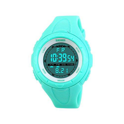 Ilove EU Mujer Chica Reloj de pulsera 50m resistente al agua banda de silicona digital LED Alarma Fecha reloj reloj deportivo cronómetro Azul