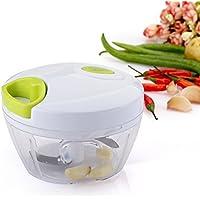 Uten® Kitchen Mini Chopper Food Pull Processor - for Vegetable, Fruit, Garlic, Herb, Onion, Pull Slicer Cutter Blender Tool (3 Blades)