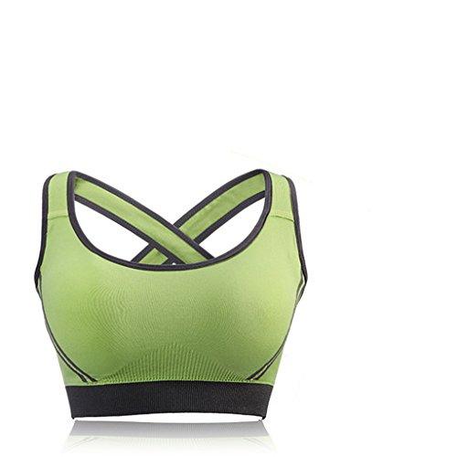 ny Soutien-gorge sport Anneau en acier inoxydable Rassemblement Yoga Pas de trace Fitness Lingerie Running Vest Vert