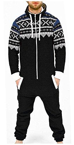 Juicy Trendz Herren Kapuzenjacke Hoody Strampelanzug Körperanzug Jumpsuit Overall, Black-aztec, M