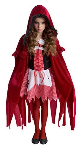 Karneval Klamotten Rotkäppchen Zombie Kostüm Mädchen-Kostüm Halloween Größe 128