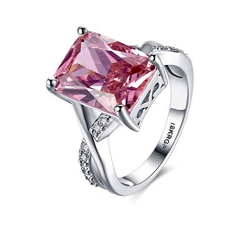 Zxh nuovo anello anello da donna in platino con zirconi in oro bianco, anello in oro 18 carati placcato rame verde,9