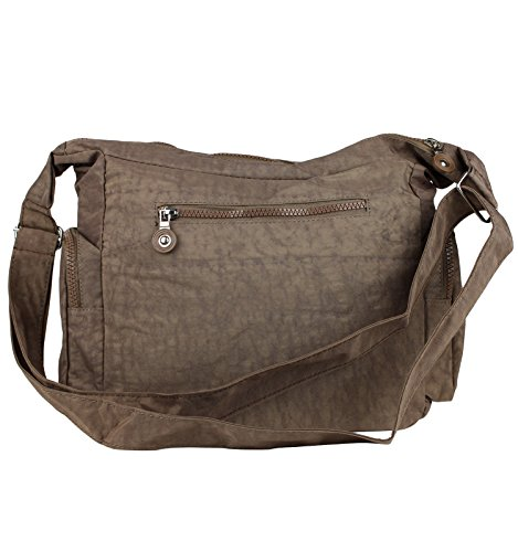 Bag Street Damen Nylon Shoppertasche Umhängetasche Crossover Bag Schultertasche Taupe