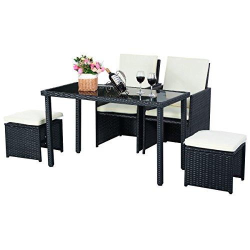 5tlg Gartenmöbel Polyrattan Lounge Set Esstisch Set Rattanmöbel Gartensitzgruppe Essgruppe Gartengarnitur Gartenset Tisch Stühlen Hocker Garnitur inkl. Kissen - 2