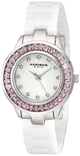 Akribos XXIV da donna, con orologio, con zircone, in ceramica, colore: bianco