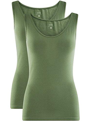 oodji Collection Donna Canotta Basic Senza Etichetta (Pacco di 2) Verde (6200N)
