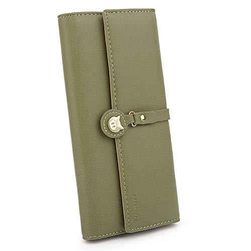UTO Portafoglio Donna maiale per Ragazza borsa pig con 10 slot per porta carte credito e Tasca cerniera porta moneta in Pelle sintetica Verde