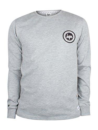 Hype Herren Longsleeved Crest Logo T-Shirt, Grau Grau