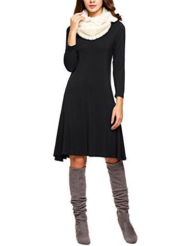 Elesol Damen Freizeitkleid 3/4 Arm Lässig Kleid Casual Kleid Herbst Winter Büro Kleid loose Businesskleid