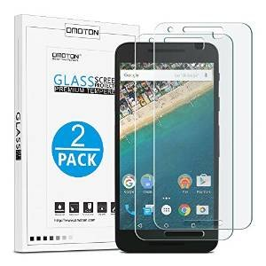 [2 Stück] OMOTON Panzerglas Displayschutzfolie für Google / LG Nexus 5X , Anti-Kratzen, Anti-Öl, Anti-Bläschen,9H Härte Premium High Quality Screen Protector