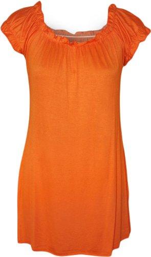 WearAll - Damen Übergröße Gypsy u-boot-ausschnitt boho Top - Orange - 54-56 (70er Jahre Kleidung Frauen)