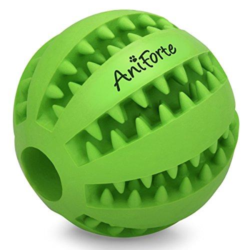 AniForte ORIGINAL Hundespielzeug Zahnpflegeball DentalBall für Mittelgroße und große Hunde, Hundeball, Kau-Spielzeug mit Leckerli-Loch, 100% Natur aus Naturkautschuk, 7 cm Durchmesser, Ohne Chemie - Hund Mittelgroße Hunde Knochen Für