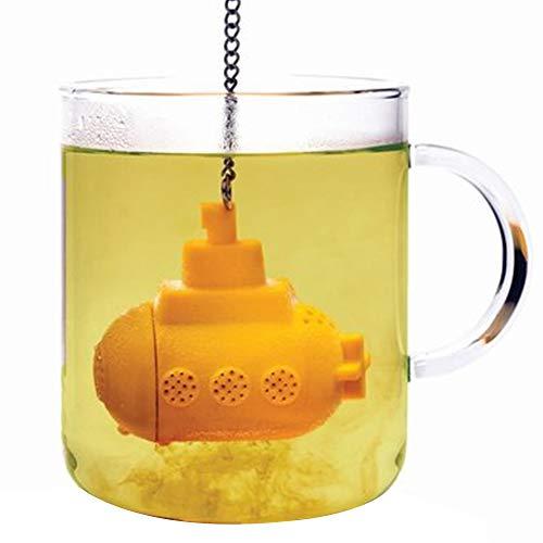 Isuper Submarino Creativa en Forma de té Infuser Silicona Resistente Tamiz del té Práctico Filtro difusor Amarillo para su casa