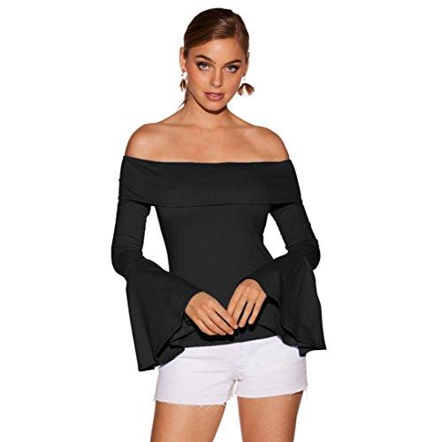 Keepwin Weg von der Schulter Sexy Tops, Frauen Casual Flare Langarm-Shirt Solid Slim Bluse (L, Schwarz)