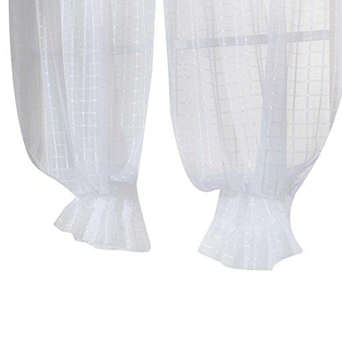 LCLrute 1Pcs Rod Durch Fenster Vorhänge Mit Spitze Gitter Einfarbig Fenster Behandlung Panels Tür Drapieren 100 * 140 cm (Weiß) (Spitze Blockieren)
