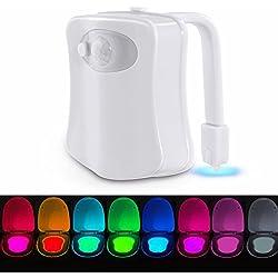 Luz de Wc con sensor de movimiente iluminación nocturna para niños con 8 colores diferentes funciona con pilas (no incluidas) Lámpara/luces de inodoro luz automática de movimiento activado