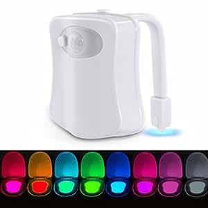 Lampada Notturna Igienici Illuminazione Igienici con Sensore di Movimento Luce Notturna Attivata Luce 8 Colori da Sostituire Per WC, Igienici, Bagno, Benna Locali Toilette