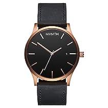 MVMT Herren Watch Uhr Rose Gold/ Black Leder Armband MM01RGBL