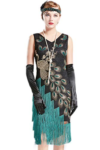 Coucoland 1920s Kleid Damen Pfau Flapper Charleston Kleid V Ausschnitt Great Gatsby Motto Party Damen Fasching Kostüm Kleid (Schwarz Grün, XL)