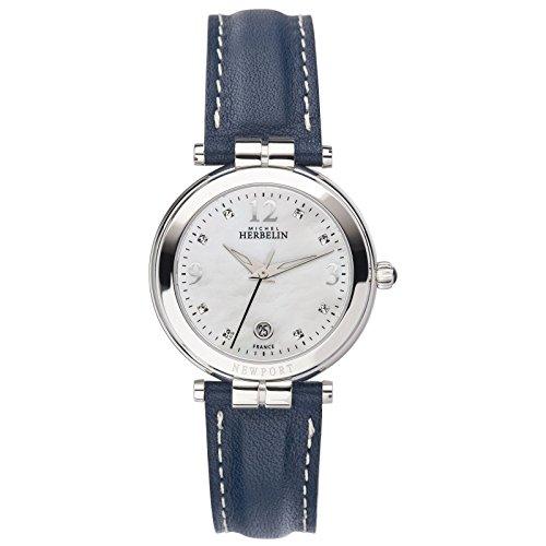 Michel Herbelin Reloj de mujer cuarzo correa de cuero caja de 14264/AP59BL