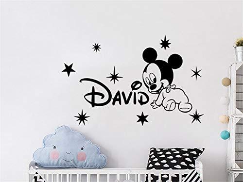 wandaufkleber 3d Wandtattoo Kinderzimmer Mickey Mouse Wall Sticker Decal Wall Decal benutzerdefinierte jungen Namen Mickey Mouse Vinyl Aufkleber Decals personalisierte Kinderzimmer Wand Dekor Kinder -