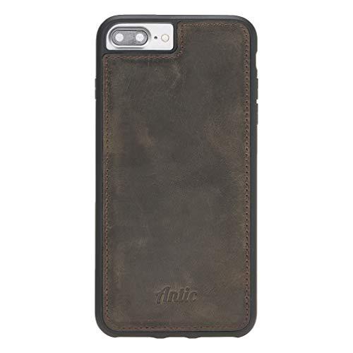 Antic Case Hülle Lederhülle für iPhone 6 6s 7 8 Plus Acht + QI fähig und magnetisch mit unzerbrechlichem TPU Rahmen Premium Leder I Dunkel Braun (Iphone 6 Rahmen)