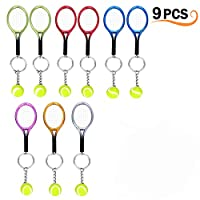 Creatiees 9Pcs Mini Tennis Racket Keychain Key Ring, Fashionable Alloy Tennis Ball Split Ring, Sport Style Split Keychain Sport Lovers Gift Prize Set - Exquisite & Lightweight(Assorted Colors)