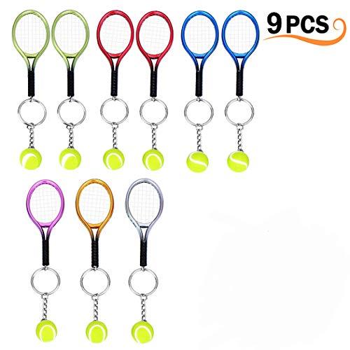 Creatiees 9 Stücke Mini Tennis Schläger Schlüsselbund Schlüssel Ring(Assortiert Farben)
