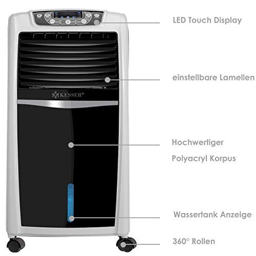 KESSER® 4in1 Mobile Klimaanlage   Fernbedienung   Klimagerät   Ventilator Klimaanlage   8 L Wasser/Eis Tank   Timer   3 Stufen   Ionisator Luftbefeuchter   Luftkühler Weiß Bild 2*