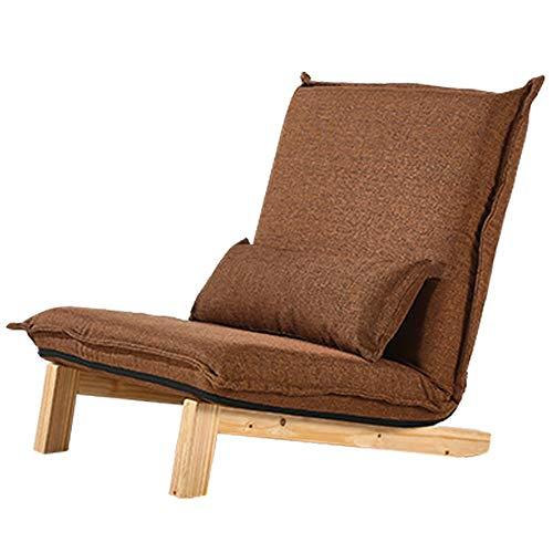 Axdwfd Liegestuhl Sessel, Lazy Couch Single Faltbare Waschbar Balkon Schlafzimmer Stoff Tatami Stuhl 120x80x30cm (Color : Brown - Wood Legs) - Schlafzimmer Stoff Stuhl