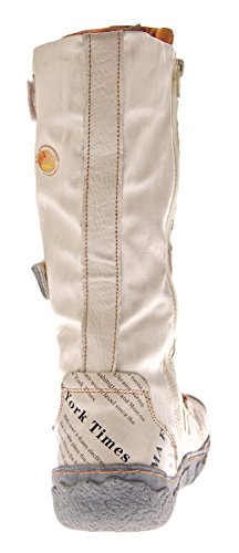 Damen Leder Winter Comfort Stiefel TMA 7086-N echt Leder Schuhe viele Farben Damenstiefel gefüttert Weiß-Creme